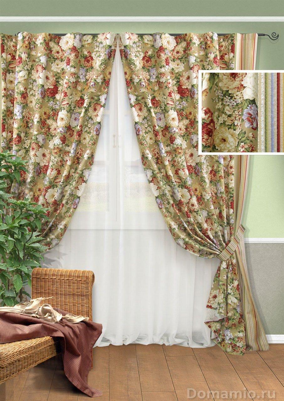 Цветочные шторы в интерьере фото